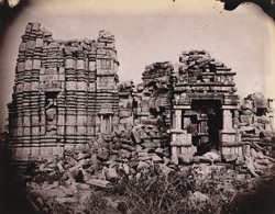 General view of a large ruined temple of the Chandella period, Rahilya, Hamirpur District